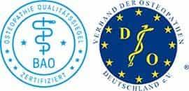 Siegel der Bundesarbeitsgemeinschaft für Osteopathie und des Verbandes der Osteopathen Deutschland.
