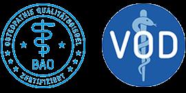 Die Praxis für Osteopathie Berlin, Martina Merländer hat das Qualitätssiegel der Bundesarbeitsgemeinschaft für Osteopathie und das Siegel des Verbandes der Osteopathen Deutschland.